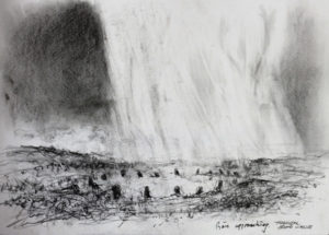Rain & Hail Tregeseal stone circle. Pencil on paper. 30x41 cm 2016. £75.00