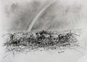Rainbow near Tregeseal stone circle. Pencil on paper. 30x41 cm 2016 £75.00