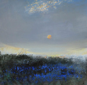 'Sunrise with Bluebells'. Oil on canvas 60x60 cm 2016 £1100